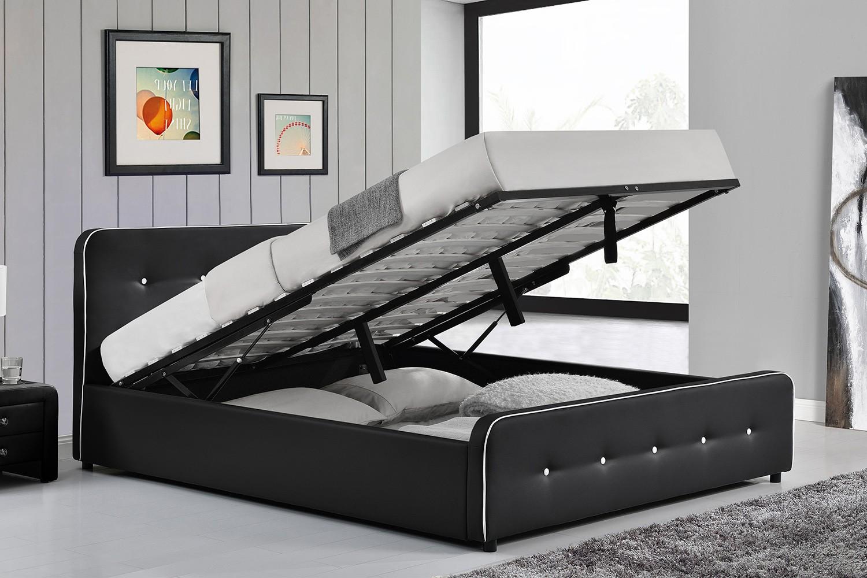 lit bradford structure de lit capitonnee noir avec coffre de rangement integre 160x200 cm