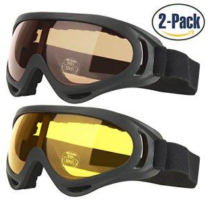 Lunettes de ski pour enfants Lunettes de sport pour hommes et femmes avec 100% UV 400 Protection Résistant au vent Lentilles anti-yeux et étanche à la poussière Pack de 2 Fabriqué par COOLOO