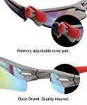 Lunettes de cyclisme Duco 0026 – 100 % anti UVA UVB – avec 5 verres interchangeables (Rouge)