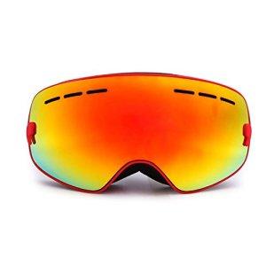 HiCool Lunettes de Ski pour Enfant avec Extra-large Lentille Détachable Antibuée Anti-UV Sphérique Grand Angle Masque de Ski pour Snowboard, Patinage, Motoneige (Rouge)