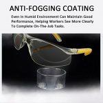 Lunettes de sécurité Duco avec verres antibrouillard Lunettes étanches Protection UV400 (Jaune)