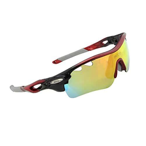 Duco Lunettes de Cyclisme -100% Anti UVA UVB – avec 5 Verres interchangeables (Rouge/Noir)