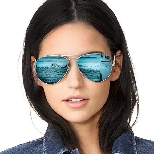Aviateur Lunettes de Soleil Femme Polarisées Classique Métal Modernes et Fashion Miroir UV400 Réfléchissantes (Cadre Argent Lentille Bleue (Miroir))