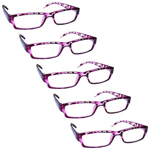 The Reading Glasses Lunettes de Lecture Rose Écaille Valeur Set de 5 Léger Hommes Femmes RRRRR32-4 +2,50
