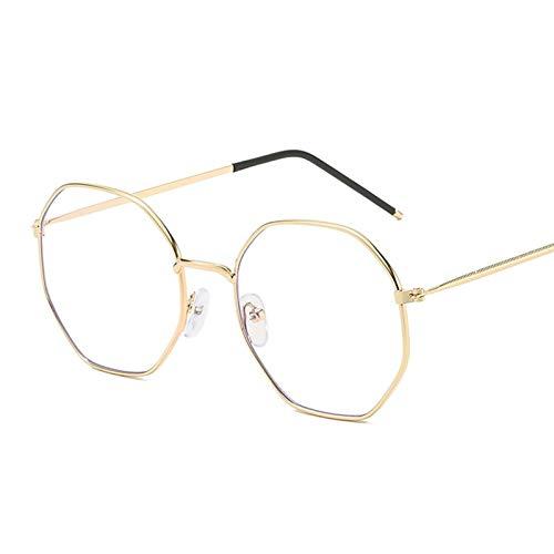 KSFBHC Cadre de lunettes rondes pour femme Anti lumière bleue Cadre rétro miroir transparent (couleur du cadre : doré)