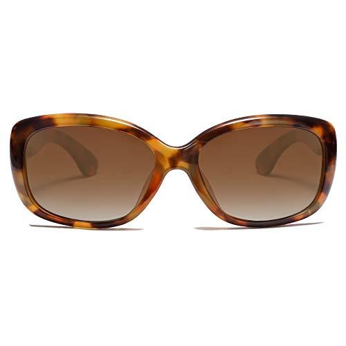 SOJOS Lunettes De Soleil Vintage Carré Pour Femmes Polarisé UV Protection Monture Havana SJ2111 Avec C3 Monture Tortoise/Verre Brun Pente