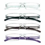 4 paires de lunettes de lecture, lunettes de blocage de lumière bleue, lunettes de lecture d'ordinateur pour femmes et hommes, monture de lunettes de mode rectangulaire (4 couleurs, 2.00)