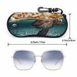 Ahdyr Tortue Personnalité des hommes et des femmes Mode Durable Étui à lunettes portable 3.1 X 6.1In Étui à lunettes de soleil étanche Zipper Hard Shell