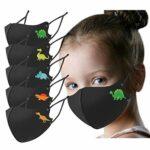 Marxways_ 5 Pièces Noir Visage_Masque Bandanas pour Enfants Garçons Filles Réutilisable Arc-en-Ciel Dinosaure Glace Soie Couvre La Bouche avec Crochet Réglable