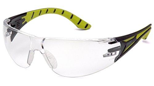 Pyramex Safety Endeavour Plus Durable Lunettes de sécurité, Mixte, SBGR9610S, Black/Green Frame, Clear Lens