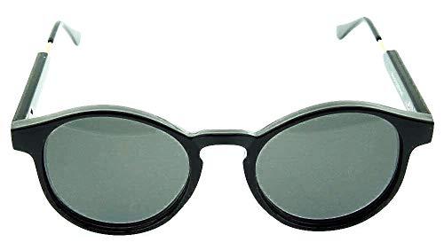 Inception Pro Infinite Lunettes de soleil rondes femme – femme – vintage – femme – fille – années 60 – rétro – élégant – mode – idée cadeau originale – rond – verre noir – monture noire