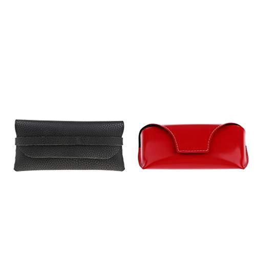 P Prettyia 2pcs Boîte Lunettes Femme Anti-pression Étui de Rangement Pochettes de Protection Lunettes Rouge,Noir