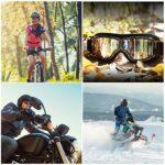 Galatée Lunettes équitation Coupe-Vent Lunettes Moto Ski Chopper Harley Unisexe Plein air Anti-UV Coupe-Vent Anti-Sable Lunettes Aviateurs Cuir pour Casques (Lentille Gris – Monture Noire)