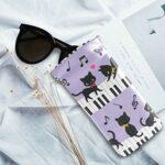 ALARGE Étui à lunettes de soleil en cuir synthétique souple avec motif animal chat piano note de musique pour enfants, hommes, femmes