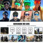 Queshark Lunettes de Cyclisme TR90 Cadre Incassable Lunettes de Soleil de Sport Polarisées Lunettes de Vélo Pour Hommes Femmes Avec 5 Lentilles Anti-UV400 (White-5Lens)