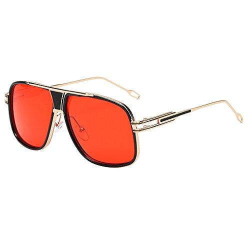 chiwanji Grandes Lunettes de Soleil Oversize de Forme Carrée, Forme UV400, Style Rétro pour Femmes – Lentille en or rouge