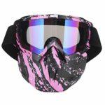 Lunettes de moto hommes femmes lunettes de soleil lunettes de motoneige Ski Snowboard hiver neige cyclisme coupe-vent extérieur masque(Rose)
