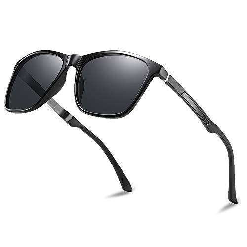 Lunettes de soleil polarisées pour hommes et femmes; cadres vintage/classiques/élégants; objectifs haute définition; golf/conduite/pêche/sports de plein air/lunettes de soleil tendance (【À 】 Noir)