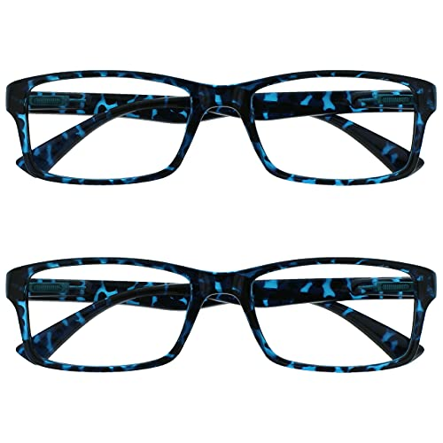 The Reading Glasses Lunettes de Lecture Bleu Écaille Lecteurs Valeur Set de 2 Designer Style Hommes Femmes RR92-3 +2,00