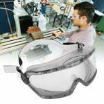 Lunettes de protection pour les yeux, environ 2 mm, 100 % en polycarbonate, réglables, transparentes, anti-buée, anti-choc, anti-ultraviolets et anti-éclaboussures