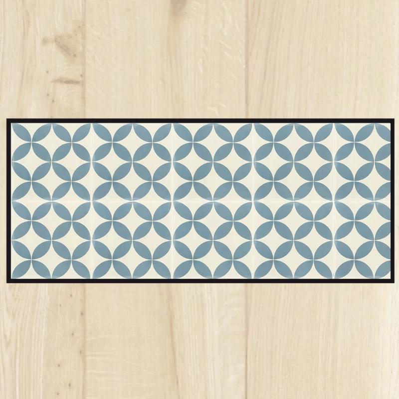 tapis cuisine carreaux ciment bleu semelle anti derapante