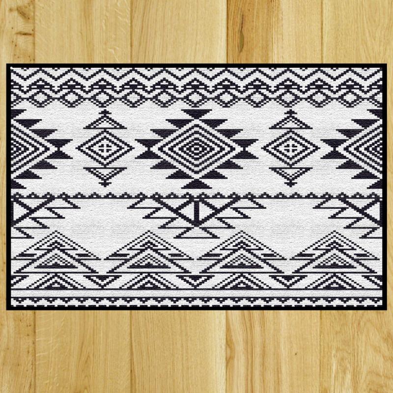paillasson original kilim de couleur blanche et noire