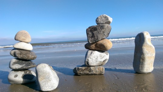 Pebbles Stacked on the beach, photo competition entry