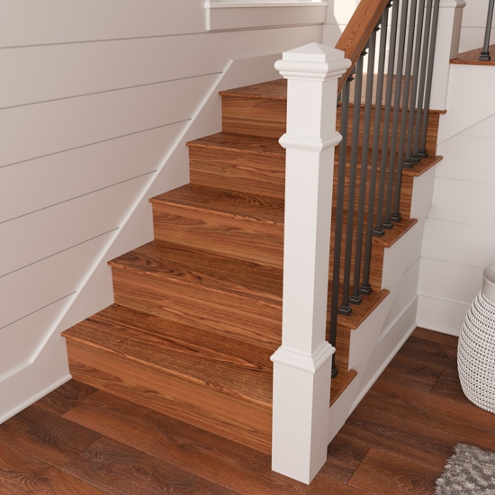 Reversible Stair Risers A Diy Revamp Cottage Style Decorating   Hardwood Steps And Risers   Brown Stair   Carpet Tread   Bullnose   Maple   Dark Wood