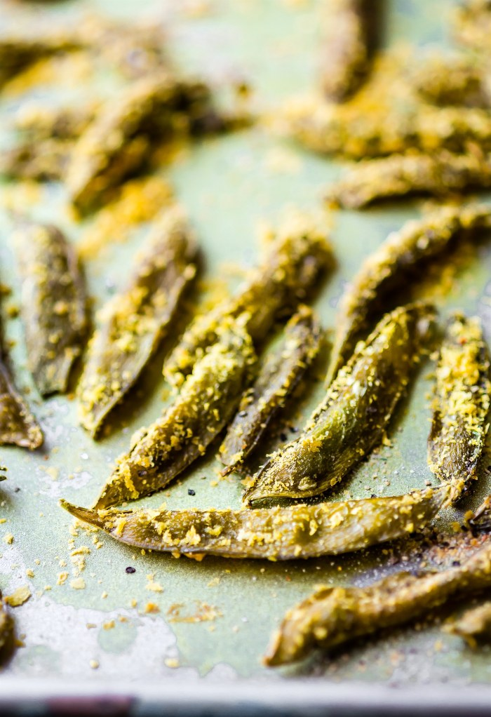 homemade snap pea chips {oven dried/baked or dehydrator}