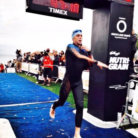 top 5 at IM New Zealand swim Exit (blue seventy suit)