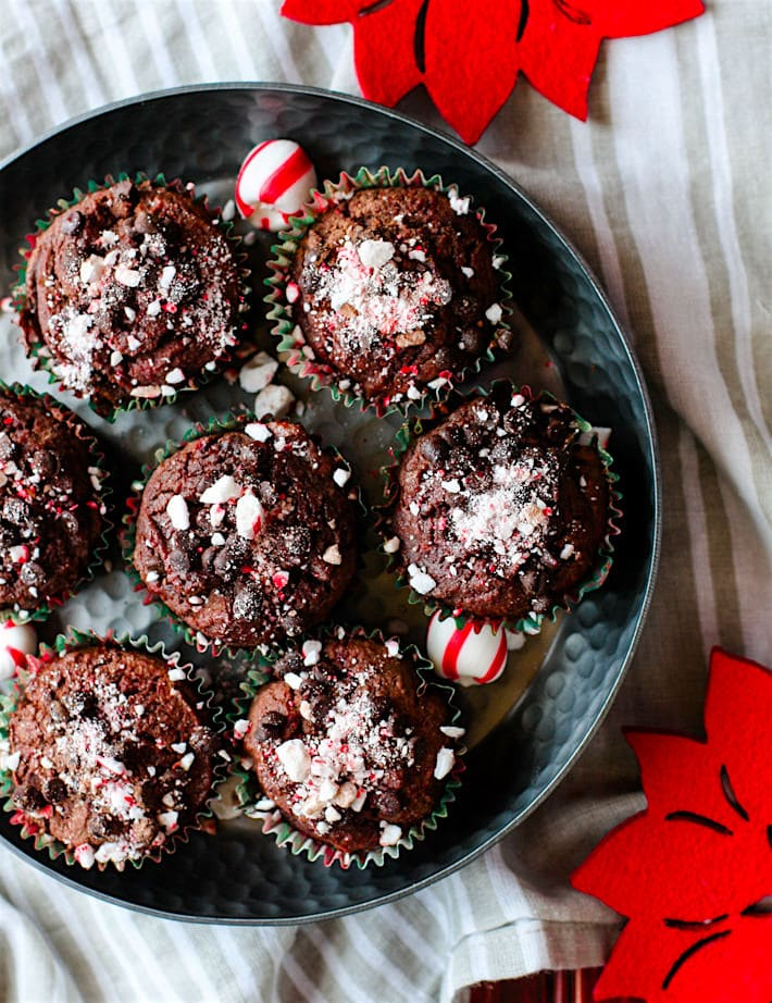 Dark Chocolate Peppermint Muffins with Soothing Peppermint oil! These chocolate peppermint muffins are not only grain free, but a healthy and festive way to enjoy breakfast or dessert. Plus they are a perfect pair for your coffee or hot chocolate, rich dark chocolatey flavor and hints of peppermint. A must make during winter or holiday baking time! Dairy free option as well.