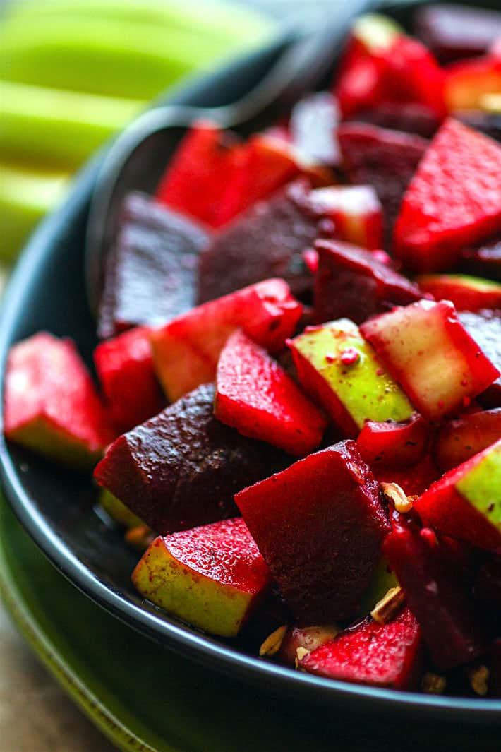 Marinated Beet and Apple Salad with banana peppers and pecans. A super food salad that's vegan and paleo friendly and packed full of flavor! This beet and apple salad is rich in antioxidants, easy to make, and great for a potluck side dish! Or enjoy with the family and boost your health.