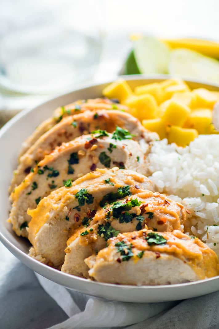 Healthy Chili Lime Mango Marinated Chicken Bowls Recipe via Cotter Crunch - Time to find the perfect marinated chicken recipe you over and over again! Like this Gluten Free Chili-Lime Mango Marinated Chicken Bowl recipe. This Marinated Chicken recipe is super easy to make, healthy, dairy free, and delicious!