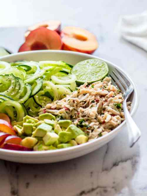 Asian Crab and Avocado Spiralized Cucumber Salad