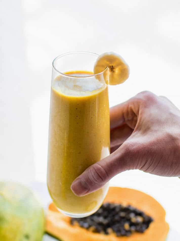 Nourishing Turmeric Golden Milk Vegan Tropical Smoothie!! A healthy Anti-inflammatory smoothie with nutrients from turmeric golden milk and tropical fruit combined!