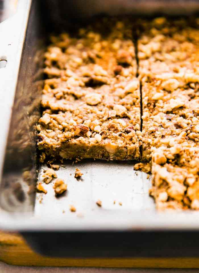 Super easy 3 Step Paleo Baklava Flavored Bars in pan
