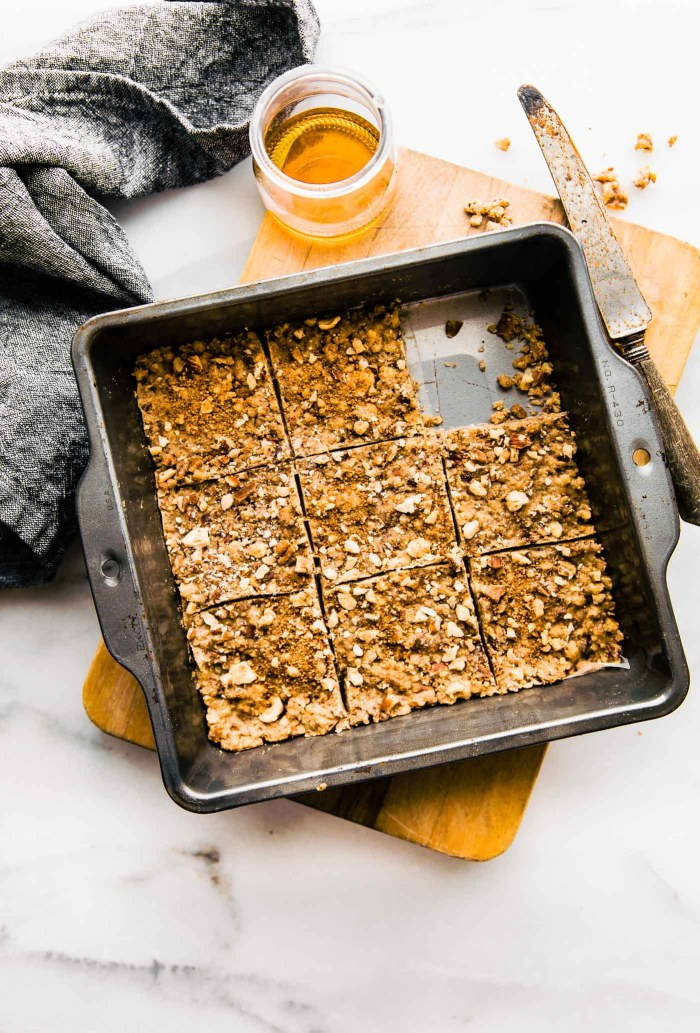Super easy 3 Step Paleo Baklava Flavored Bars in baking square pan