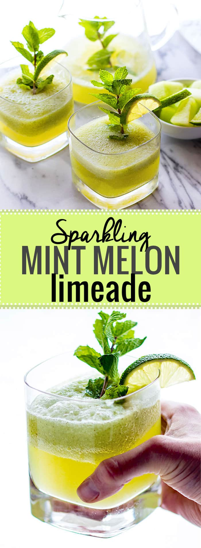 Sparkling Mint Melon Limeade! A Healthy bubbly limeade recipe that will keep you cool and collected all summer! Quick to make, made with natural nourishing ingredients, and delicious to sip on anytime of day. @cottercrunch