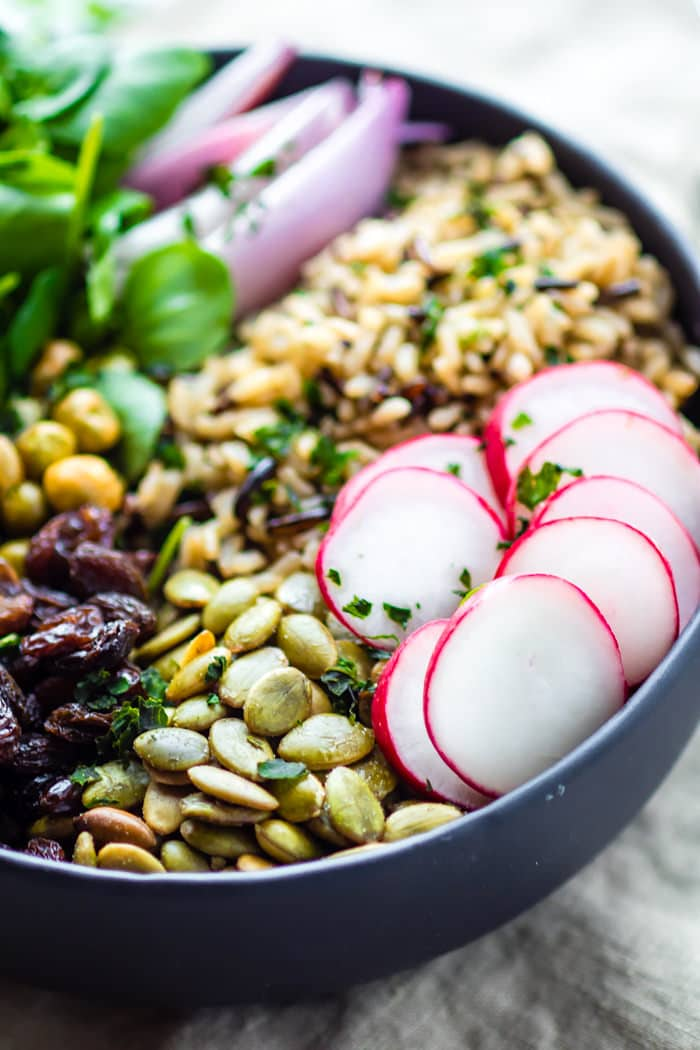 Garden Veggie Vegan Buddha Bowl! This wholesome gluten free Buddha bowl recipe is filled with superfood ingredients that nourish you and keep you healthy!