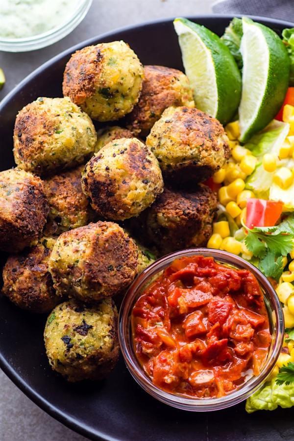 Easy Mexican Vegan Falafel Bites {Gluten Free}
