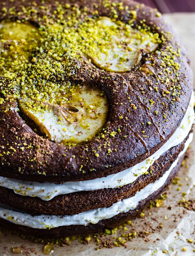 Chocolate & Pistachio Naked Layer Cake | Love and Olive Oil