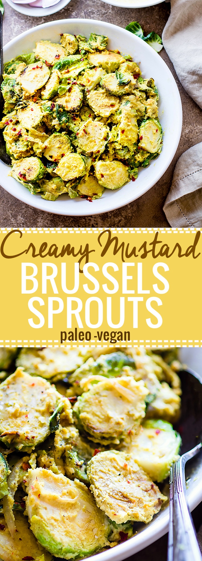 Pan Fried Creamy Mustard Brussels Sprouts Salad! A paleo Brussel Sprouts superfood salad dish tossed in a vegan creamy mustard sauce. Quick to make, packed with fiber, healthy fats, and nourishment! A healthy gluten free side dish to add to your table. @cottercrunch