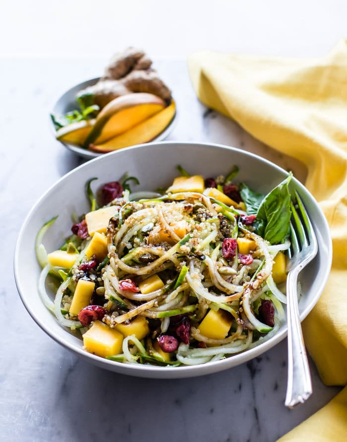 zesty mango spiralized cucumber salad  vegan  gluten free