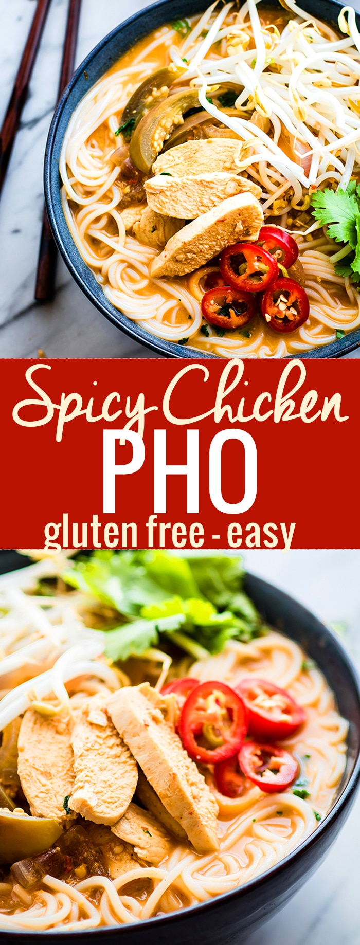 Chicken PHO made with a blended spicy broth! This gluten free Almond chicken PHO is easy to make, dairy free, healthy, and delicious. A blended chili pepper almond sauce is mixed in with the PHO broth to make this soup extra flavorful! A homemade PHO recipe that warms the body and soul. @vitamix @cottercrunch