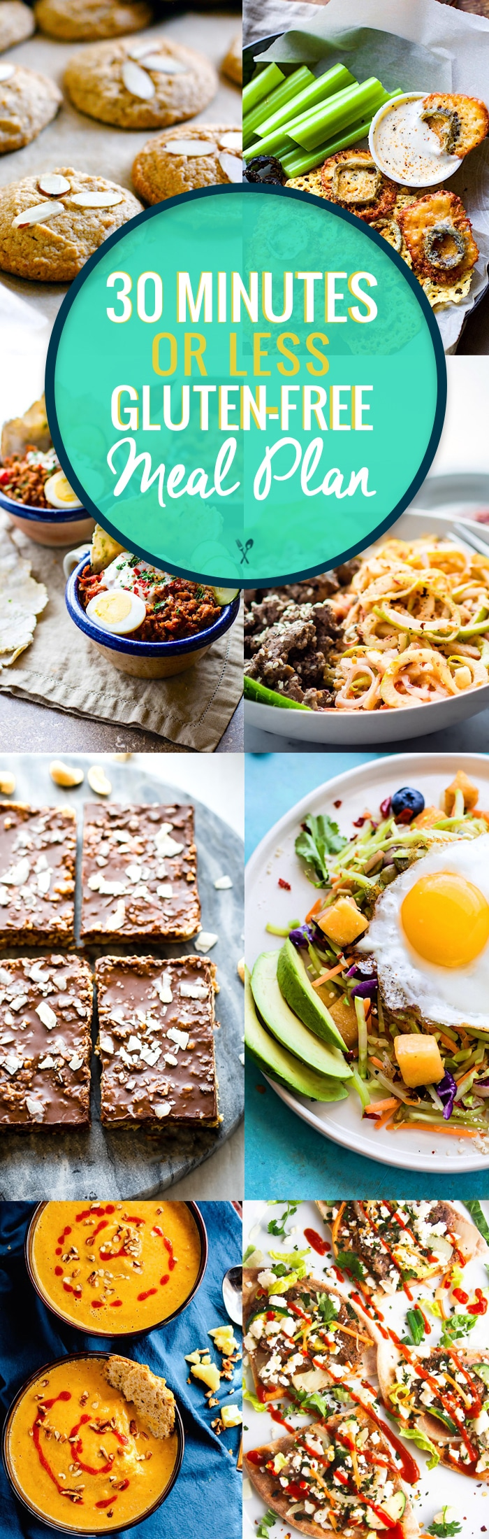 A gluten free meal plan with recipes that are quick and healthy! 30 minutes is all you need to make these simple gluten free meal plan recipes! Great for meal prep and holiday planning. Easy and delicious meals, snacks, and desserts. #MEALPLAN #GLUTENFREE