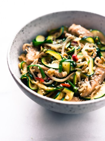 This spiralized zucchini noodles turkey chow fun stir fry recipe is light, naturally gluten free, and lower in carbs. Great recipe for leftover turkey.