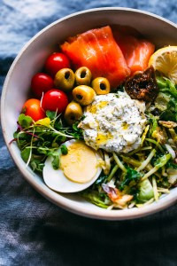 Salmon Goat Cheese Warm Greens Salad {Low Carb}
