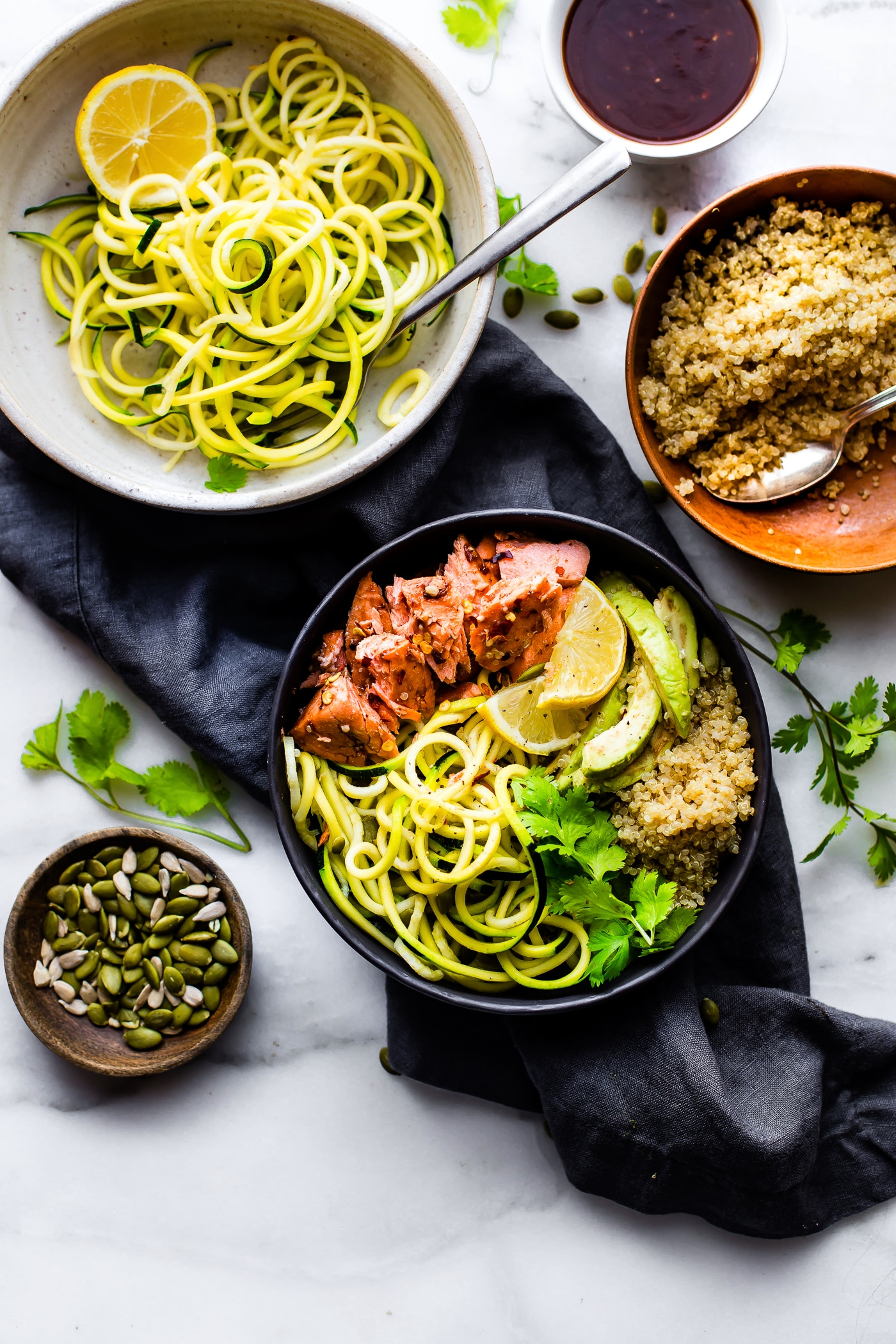 These Honey BBQ Baked Salmon Bowls are the perfect meal prep recipe for a make ahead lunch or quick dinner. Protein Packed, Gluten Free, and Dairy Free. A healthy meal ready in 30 minutes!