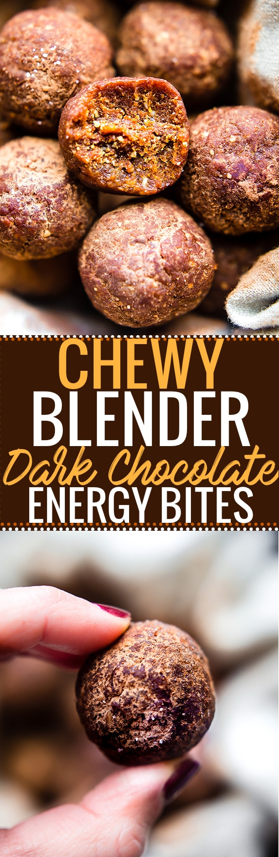 Chocolate Chewy Energy Bites made right in your blender! These dark chocolate energy bites are just 5 ingredients, sweet, chewy, and absolutely delicious! Paleo, Vegan, and Whole 30 friendly! An energizing chewy snack that perfect for anytime of day! @vitamix @cottercrunch www.cottercrunch.com