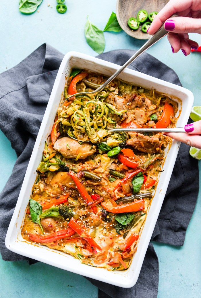 Drunken Chicken Zoodle Casserole takes a spin on the original Pad kee mao Asian stir fry and puts it in casserole form. A paleo zucchini noodle casserole with tons of flavor, Thai spices, and simple healthy ingredients! A delicious, light, high protein, low carb recipe. dairyfree and gluten-freeanti-inflammatory meal plan